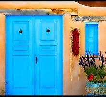 Blue Adobe Doors & Ristras by Karen Peron