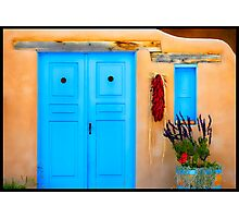 Blue Adobe Doors & Ristras Photographic Print