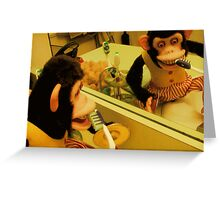 Musical Jolly Chimp Brushes His Teeth Greeting Card