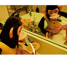 Musical Jolly Chimp Brushes His Teeth Photographic Print