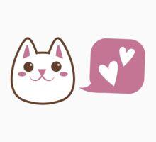 Cute little Kawaii CAT talking love heart One Piece - Short Sleeve