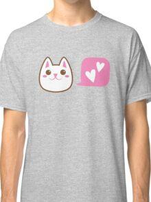 Cute little Kawaii CAT talking love heart Classic T-Shirt