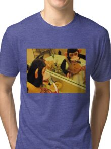 Musical Jolly Chimp Brushes His Teeth Tri-blend T-Shirt