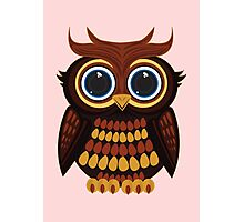 Friendly Owl - Pink Photographic Print