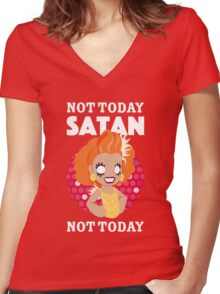 Not Today Satan, Not Today Women's Fitted V-Neck T-Shirt
