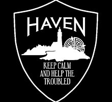 Haven Keep Calm White Logo Badge by HavenDesign