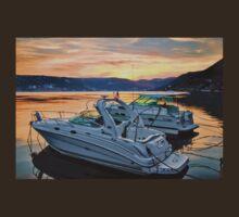 Motor Boats At Sunset In A Croatian Bay T-Shirt
