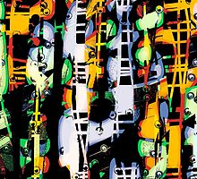 psychedelic Ladders and windows, abstract modern by ackelly4