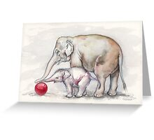 Elephants Playing with a Red Ball Greeting Card