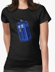 Starry Night Blue Phone Box Womens Fitted T-Shirt