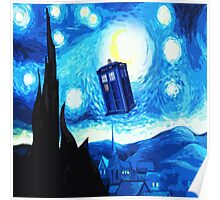 Starry Night Blue Phone Box Poster