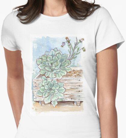 Echeveria imbricata painting 1 Womens Fitted T-Shirt
