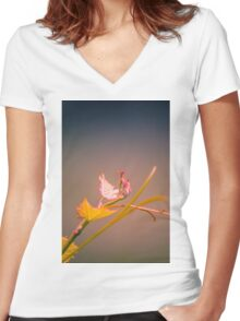 Vines in Pink Women's Fitted V-Neck T-Shirt