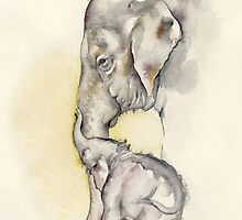 Mother – Daughter Moment, Elephants Dokkoon and Mali by CroceDesigns