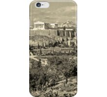 Athenian Acropolis from Philopappou Hill, 1960, Yellow-toned iPhone Case/Skin