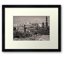 Athenian Acropolis from Philopappou Hill, 1960, Sepia Framed Print