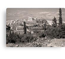 Athenian Acropolis from Philopappou Hill, 1960, Sepia Canvas Print