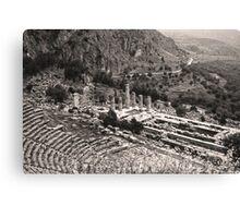 Temple of Apollo and Theatre, Delphi 1960, Sepia Canvas Print
