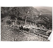 Temple of Apollo and Theatre, Delphi 1960, Sepia Poster
