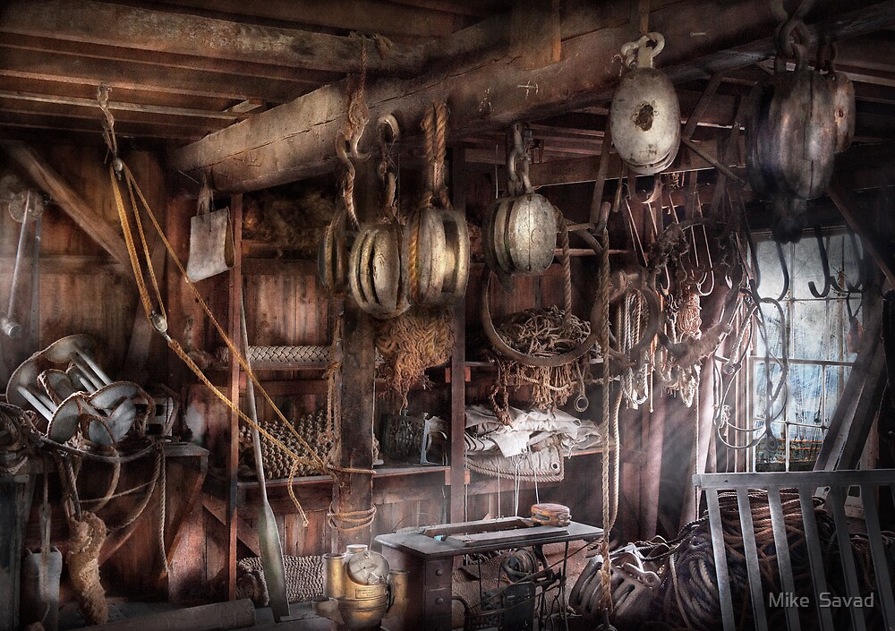 Boat - Block and Tackle Shop  by Mike  Savad