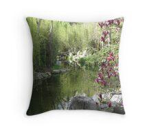 Chinese Garden Water Scene Throw Pillow
