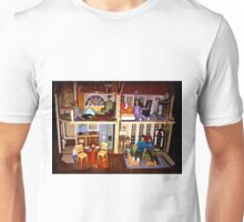 DOLLS IN DOLL HOUSE PICTURE and OR CARD,KIDS TRAVELS MUGS,DOLLS DOLL HOUSE DECORATIVE PILLOW AND OR TOTE BAG Unisex T-Shirt