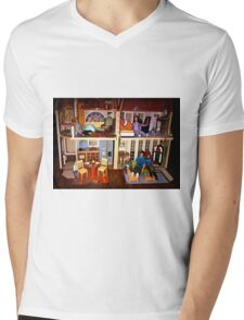 DOLLS IN DOLL HOUSE PICTURE and OR CARD,KIDS TRAVELS MUGS,DOLLS DOLL HOUSE DECORATIVE PILLOW AND OR TOTE BAG Mens V-Neck T-Shirt