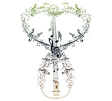 Guitar and Music Notes 9 Photographic Print