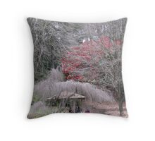 Girl in a red jacket Throw Pillow