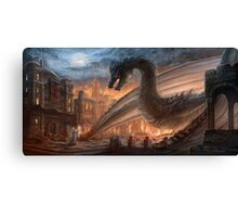Epic dragon  fight, elven maid, Smaug, Lotr Canvas Print