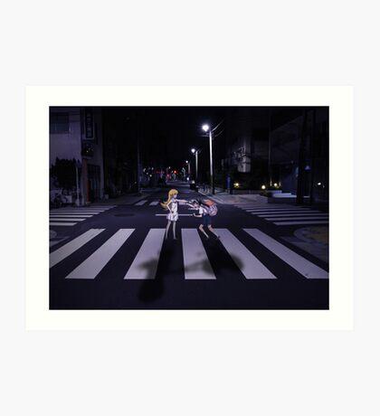 Monogatari – Mayoi and Shinobu crosswalk Art Print