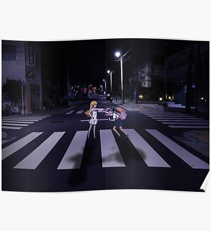 Monogatari – Mayoi and Shinobu crosswalk Poster
