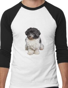 Cute Black And White Havanese Dog Painting Men's Baseball ¾ T-Shirt