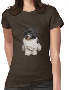 Cute Black And White Havanese Dog Painting Womens Fitted T-Shirt