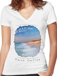 Dave Catley Landscape Photographer - Fine Art T-Shirt (Quinns Rocks) Women's Fitted V-Neck T-Shirt