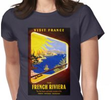 France Vintage Travel Poster Restored Womens Fitted T-Shirt
