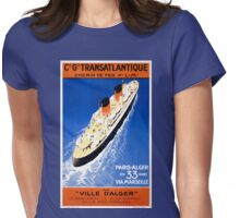 France Cruise Vintage Travel Poster Restored Womens Fitted T-Shirt