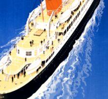 France Cruise Vintage Travel Poster Restored Sticker