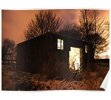 Dereliction at night - lightpainted Poster