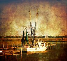 Old shrimp boat in Charleston by Susanne Van Hulst