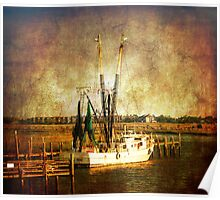 Old shrimp boat in Charleston Poster
