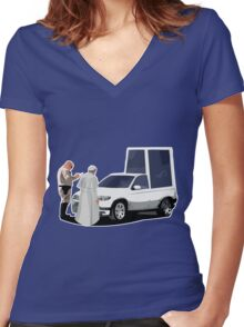 Speeding Pope Women's Fitted V-Neck T-Shirt
