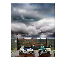 No Parking! Two classic Lambretta Scooters Photographic Print
