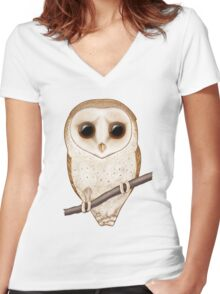 Big-Eyed Barn Owl Women's Fitted V-Neck T-Shirt