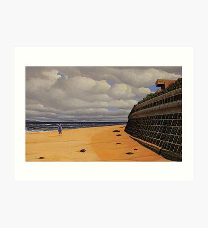 Sea Wall, Oil on Linen, 55.5x91cm Art Print