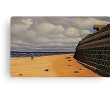 Sea Wall, Oil on Linen, 55.5x91cm Canvas Print