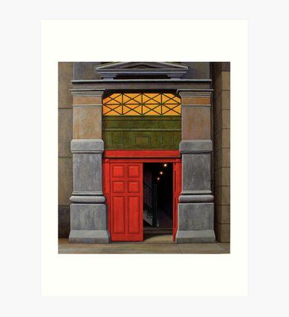 Behind the Red Door, Oil on Linen, 101x91cm Art Print