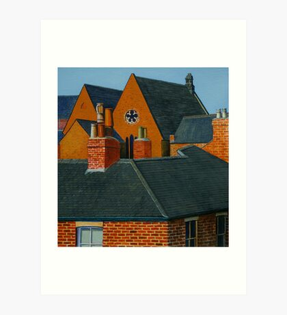 Rooftops, Oil and Acrylic on Paper, 24.5x23cm Art Print