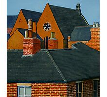 Rooftops, Oil and Acrylic on Paper, 24.5x23cm Photographic Print