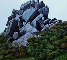 Cairn, Oil on Board-mounted Paper, 25.5x20.5  by Jason Moad